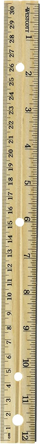 Westcott Hole Punched Wood 12 Ruler English and Metric with Metal Edge 12 Rulers
