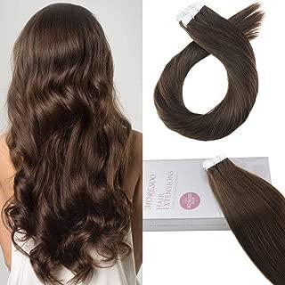 Moresoo 24 Inch Tape in Hair Extensions Full Head Color #4 Dark Brown Remi Tape in Hair Extensions Human Hair Skin Weft Hair 50gram 20 Pieces Per Pack Glue Hair Extensions