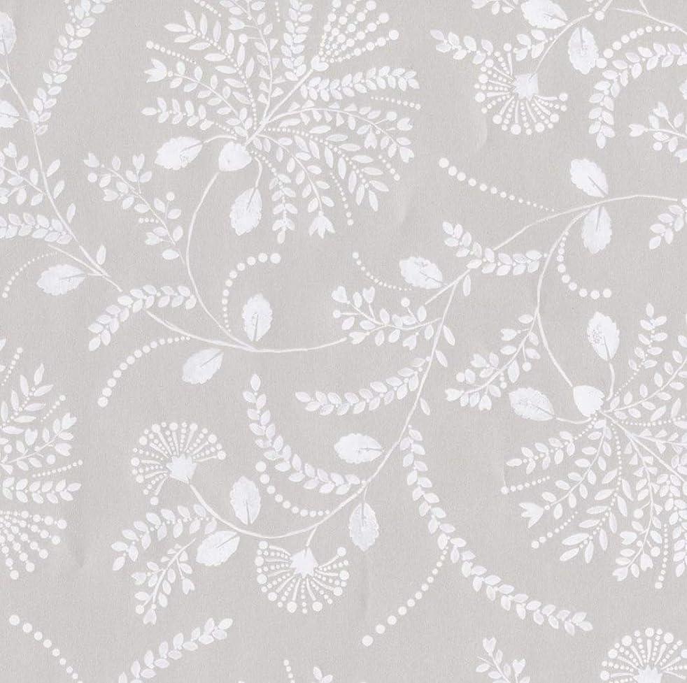 Caspari 90041RSC 1.5 m Trailing Floral Continuous Wrapping Paper Roll - Platinum