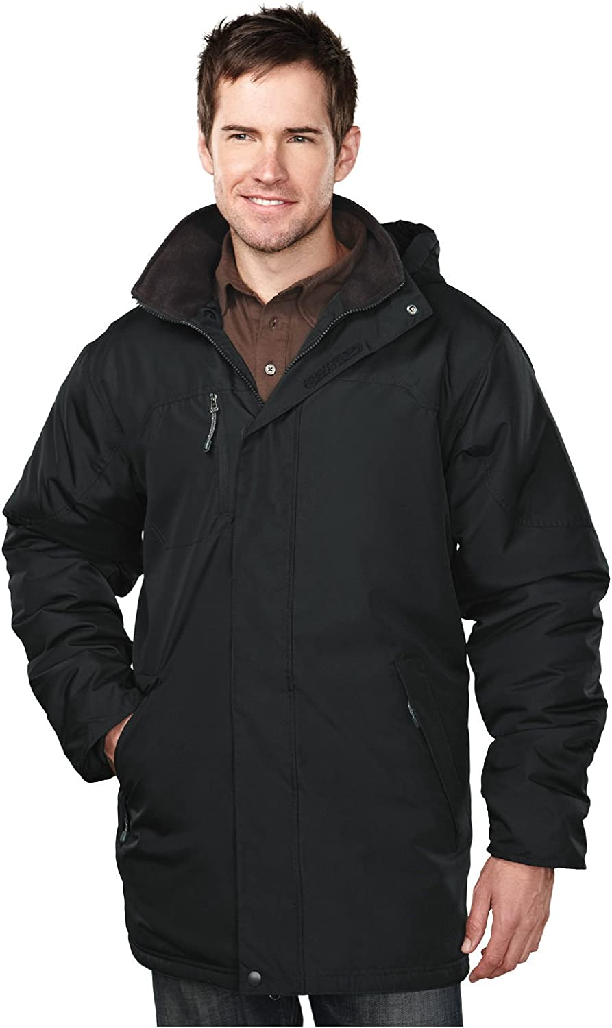Tri-mountain Mens 100% Polyester long sleeve jacket with water resistent - BLACK/BLACK - XXX-Large