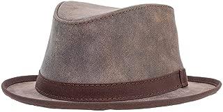 Soho by Ashbury Hats Pork Pie Leather Fedora
