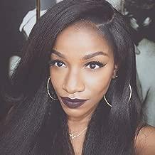 MS.ILSA Italian Yaki Left U Part Wigs for Black Women 150 Density Brazilian Remy Human Hair Wigs Cheap Kinky Straight Non Lace Wigs for African Americans 18