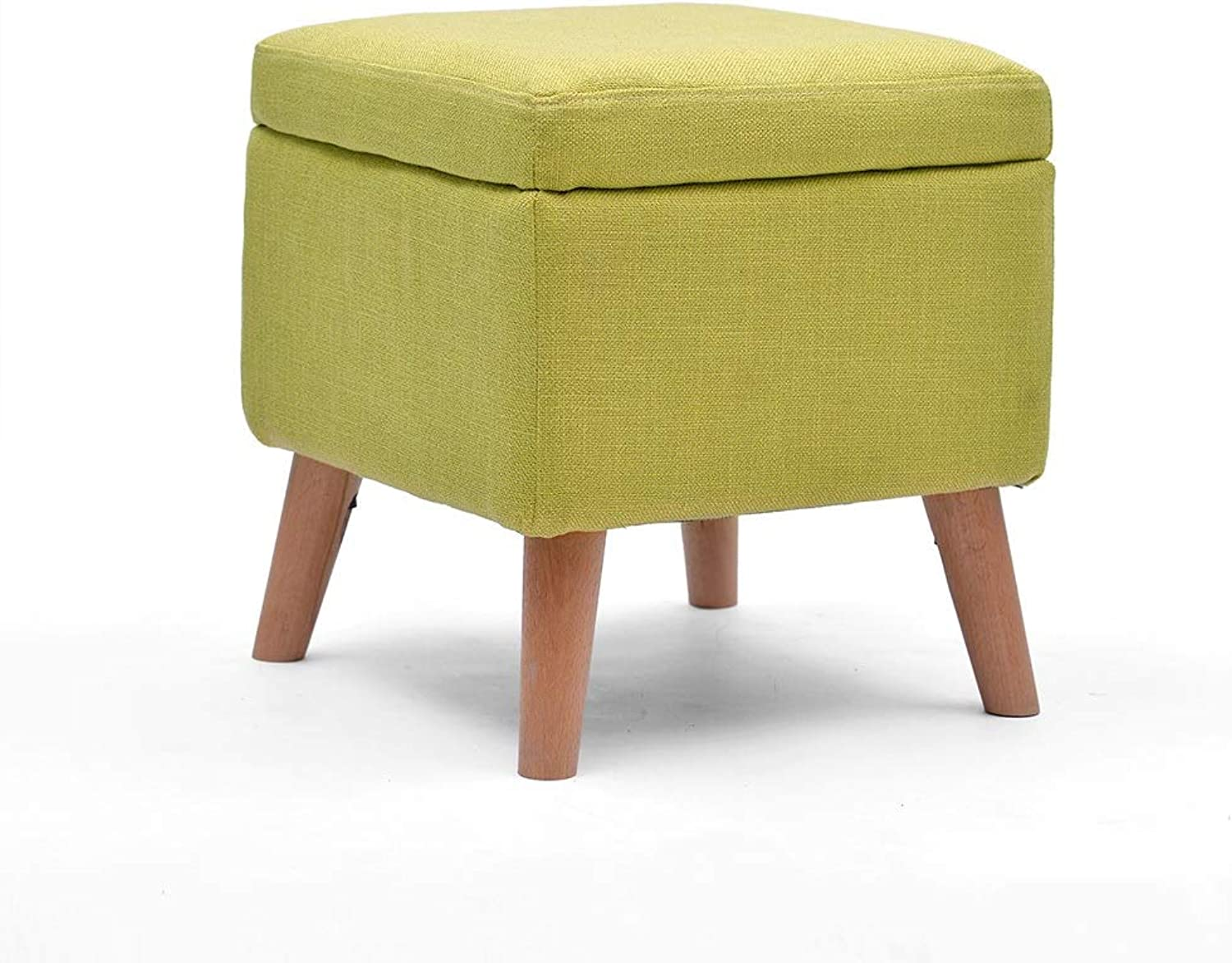 Boosc Simple Soft Footstool Rest Cube Storage Boxes Salon Taburete Stools Chair 4 Wooden Legs for Living Room Bedroom Vintage Dressing Table Large Seat Stool (color   Storage, Size   Matcha)