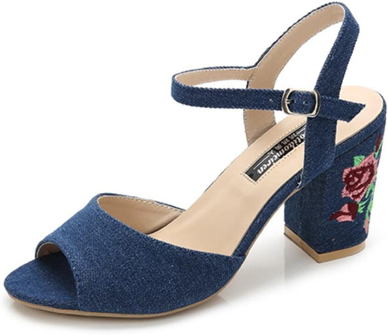 NVLXIE Damen Sandalen Sommer Dew Toe Klett Rough Ferse Pure Farbe Jeans Stickerei Bequeme Shopping Party 8cm