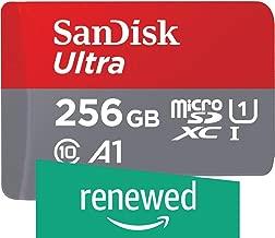 SanDisk 256GB Ultra MicroSDXC UHS-I Memory Card with Adapter - 100MB/S, C10, U1, Full HD, A1, Micro SD Card - SDSQUAR-256G-GN6MA (Renewed)