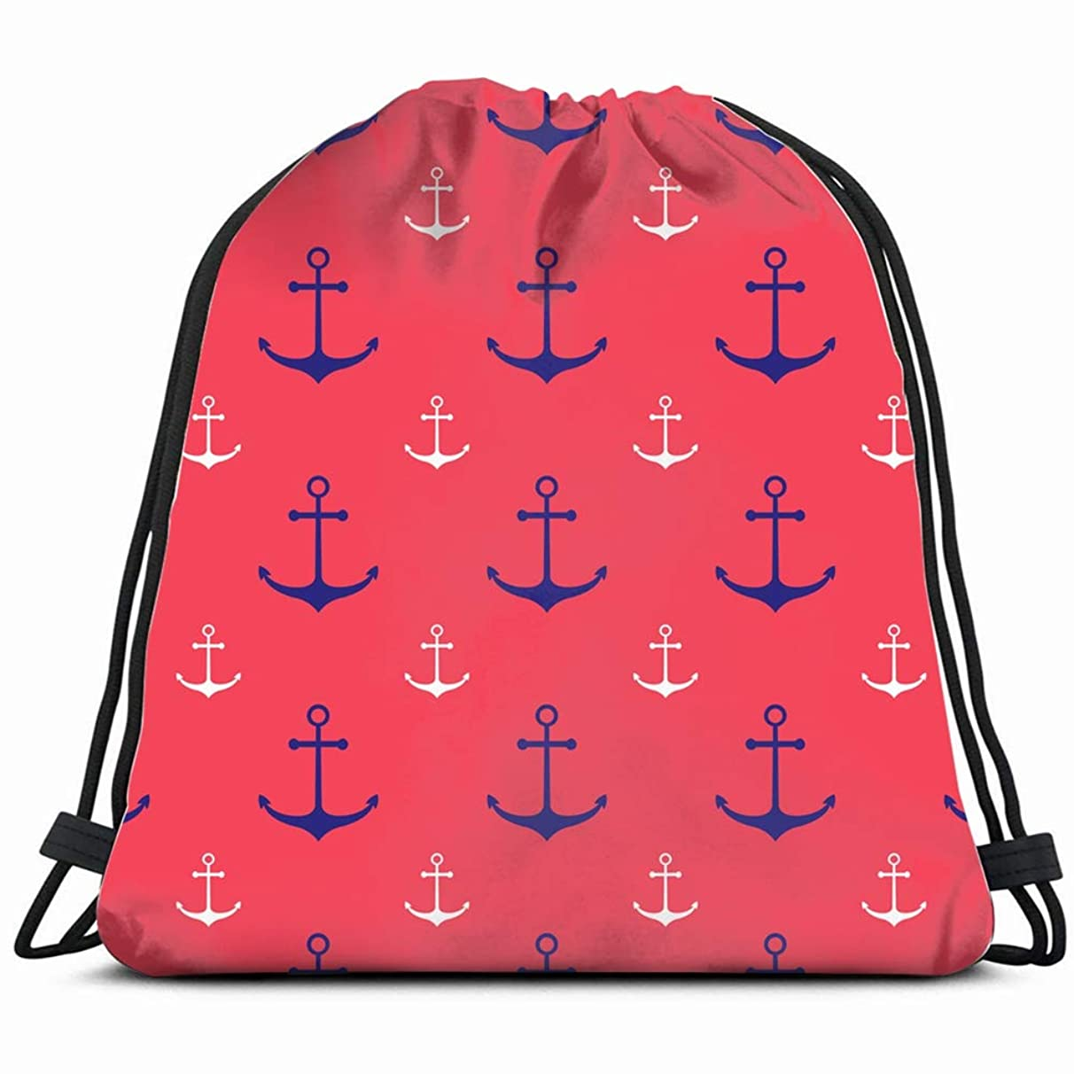 nautical scattered blue white boy Drawstring Backpack Gym Sack Lightweight Bag Water Resistant Gym Backpack for Women&Men for Sports,Travelling,Hiking,Camping,Shopping Yoga