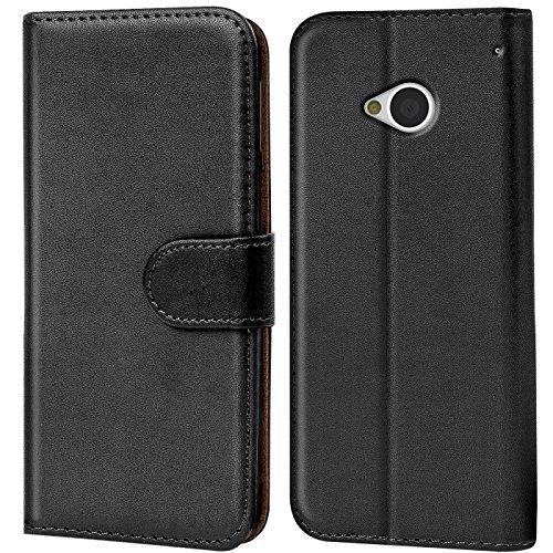 Verco Funda para HTC One M7, Telefono Movil Case Compatible con HTC One M7 Libro Protectora Carcasa, Negro