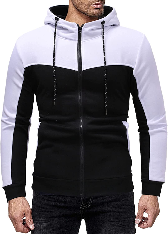 Huangse Men's Casual Slim Fit Long Sleeve Sweatshirt Novelty Color Block Zipper Hooded Cardigan Sweater Jogging Sportswear