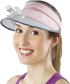 أقنعة الشمس SOYOMASS للنساء والرجال ذوي المروحة الصغيرة، قبعة واقية من أشعة الشمس عريضة بحافة 50 مع مروحة USB قبعات قابلة ...