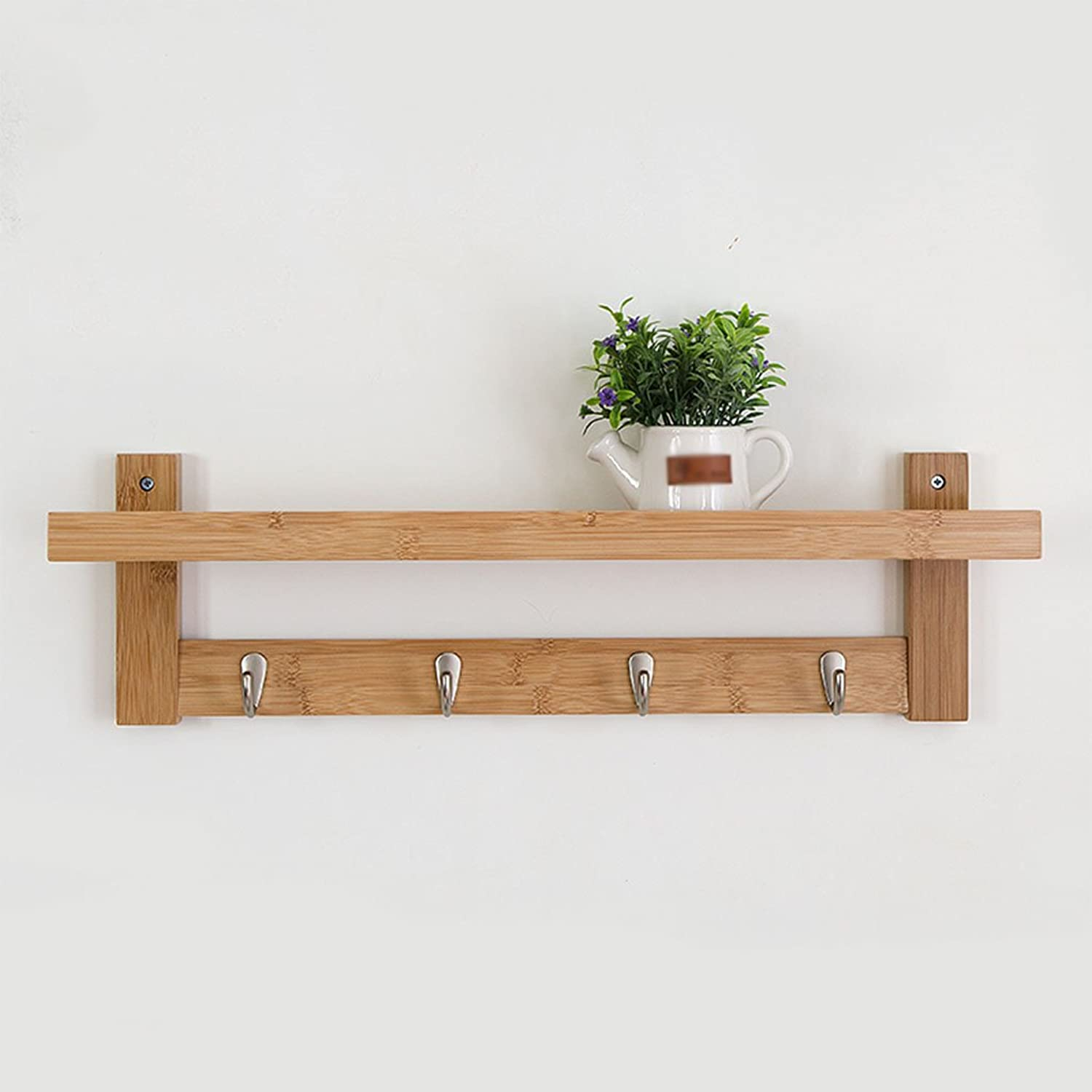 CSQ Solid Wood Hangers, Creative Wall Hanging Bedroom Wall Clothes Hook Hanger Hook up Shelf Wall Hanging On The Wall Coat Rack Length 61-87CM (Size   61  12  8CM)