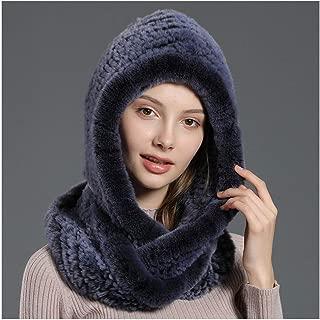 Knit Hat, Women Winter Beanie Real Rex Rabbit Fur Cap Fur Hat Scarf Hat Set Warm Soft Acrylic Winter Hats Ear Protection Cap Casual Fur Hat Warm Hats