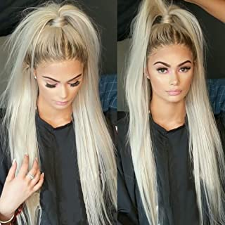 QDBOWIN QUEEN HAIR Ombre Blonde Lace Front Wigs for Fashion Women Long Silk Straight Synthetic Hair Natural Looking Ash Ombre Thick Soft Synthetic Hair Wigs Heat Resistant Fiber 24inch