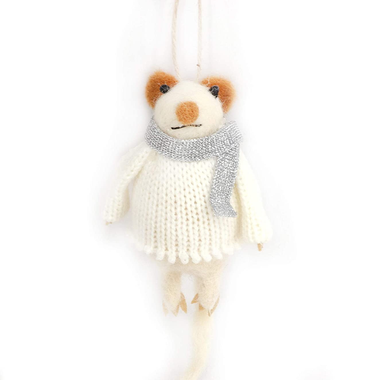 B & D Combined Inc. Stuffed Animals, Mouse,with White Knitting Sweater and Wearing Silver Scarf.