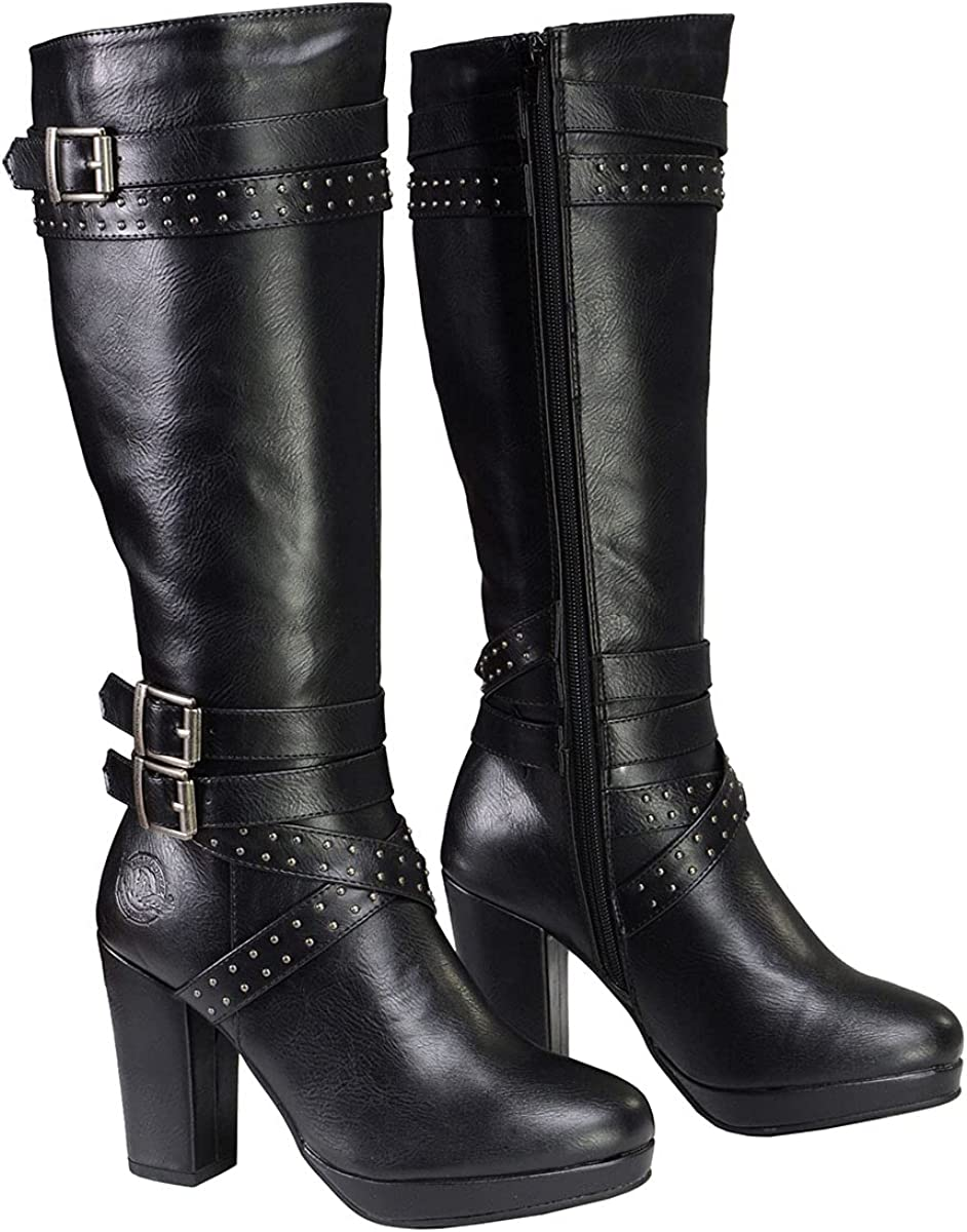 Milwaukee Leather MBL9422 Women's Tall Black Studded Strap Boots with Platform Heel