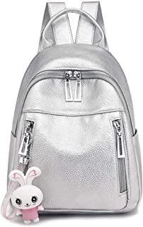 Bag women's all-match small pendant backpack solid color soft surface backpack