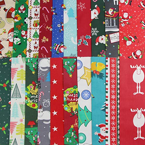 Jukway Tela de Navidad 20 Piezas Patchwork Telas de Algodón Navideñas por Metro Patrones de Navidad para Manualidades, Costura, Acolchado, Decoración de Bricolaje, Artesanales (25x25 cm -20PCS)