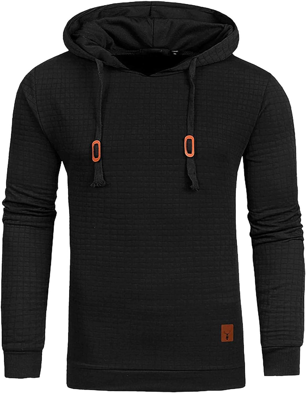 SweatyRocks Men's Solid Plaid Slim Fit Pullover Hoodies Drawstring Hooded Sweatshirt