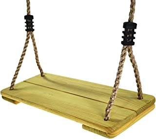 HAPPY PIE PLAY&ADVENTURE Nostalgic Children to Adult Wooden Hanging Swings Seat with 78'' Height Adjustable Pp Rope Per Side (2pc Pinewood)