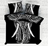 Kiara 3 pz mandala Bedding posture milioni romantico morbide lenzuola tinta twill trapunta copriletto Boemia copripiumino matrimoniale Queen/Twin size, Cotone, Black & White Elephant Mandala, Queen