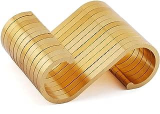 JCBIZ 12pcs Gold Space Aluminum S Hook Flat S Shape Bathroom Kitchen Railing S Hanger Multi-Purpose Spoon Pan Pot Towel Cloths etc. Accessories Hangers Fit for Below 19mm Round Rod
