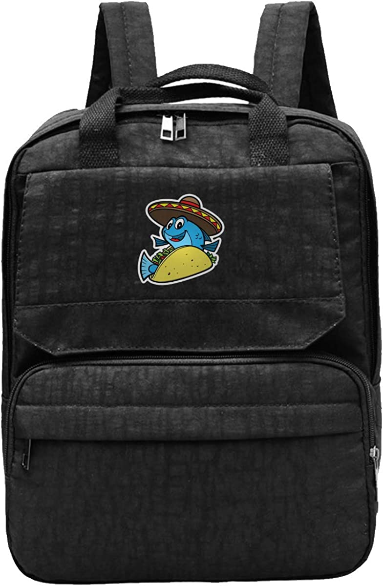 Fish Taco Unisex Classic Canvas Travel School Backpack Fits 12 Inch Laptop