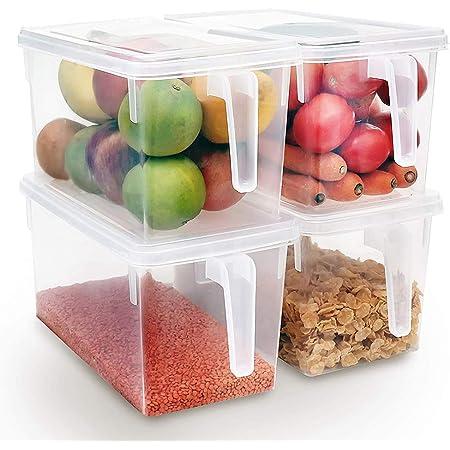 Xnuoyo Conteneurs De Stockage Réutilisables, Organisateur De Stockage des Aliments Boîtes De Rangement pour Réfrigérateur Empilables Récipients De Cuisine avec Poignée pour Fruits Légumes-4PCS