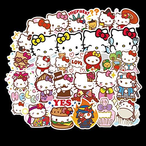 XIAMU Cute Dibujos Animados Hello Kitty Pegatinas niños monopatín Guitarra Maleta Ordenador teléfono Pegatinas Decorativas 100 Zhang