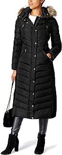 Women's Faux-Fur-Trim Maxi Puffer Coat, Black, Size Medium