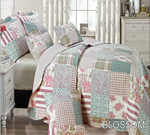 Bedspread Comforter Quilted Bed Throw 3 Pieces Vintage Printed Patchwork