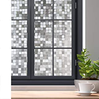 Rabbitgoo 3D Decorative Window Film Privacy Winodw Cling No Glue Static Door Film for Sun Blocking, Anti-UV Window Sticker, for Home Office, Mosaic Pattern, 23.6 x 78.7 inches