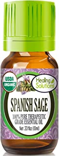 Organic Spanish Sage Essential Oil (100% Pure - USDA Certified Organic) Best Therapeutic Grade Essential Oil - 10ml