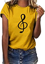 Short Sleeve Tee Blouse for Women,Amiley Womens Music Note Print O-Neck Casual Short Sleeve Comfy T Shirts Blouses Tops