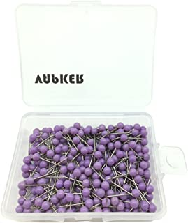 VAPKER 1/8 Inch Map Tacks Round Plastic Head Push pins with Stainless Point(Box of 300 Purple Color pins)