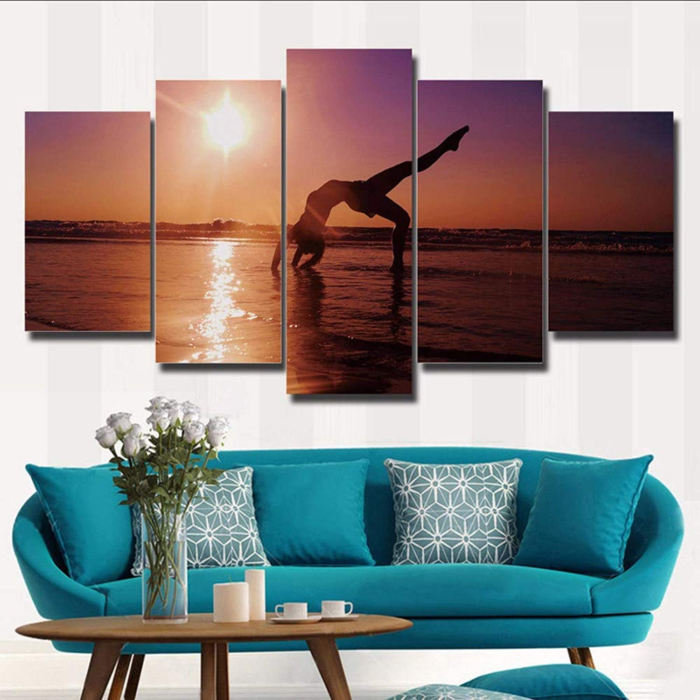 ordenar ahora Wsxxnhh Lienzo Modular Pinturas Decoración Arte De De De La Parojo 5 Piezas Mujeres En La Playa Marco De Póster De Yoga Impresiones HD Sol Paisajes Imágenes-30X40Cmx260Cmx2 80Cmx1  Ahorre 35% - 70% de descuento
