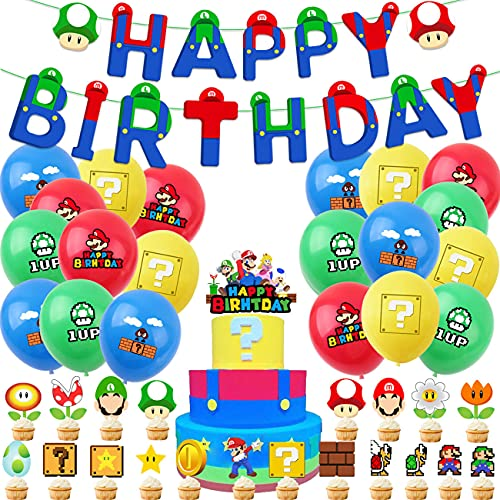 Tomicy Super Mario Geburtstag Dekoration, Party Supplies für Super Mario Happy Birthday Banner Cake Toppers Latex Luftballons Girlande Mario Bros Geburtstag Deko Set
