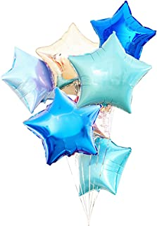 AZOWA Star Shaped Foil Balloons 18 inch Pack of 30 Blue Helium Mylar Balloons for Birthday Party Wedding Baby Shower Decorate (Blue, Silver, Teal, 18 inches)