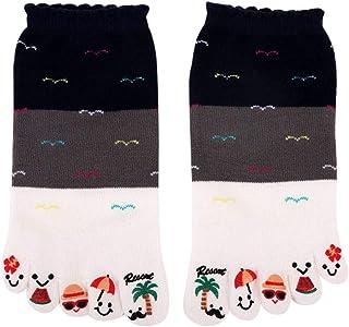 VJGOAL, Moda casual para mujer Impresiones de cinco dedos del pie Calcetines antideslizantes de algodón Calcetines deportivos