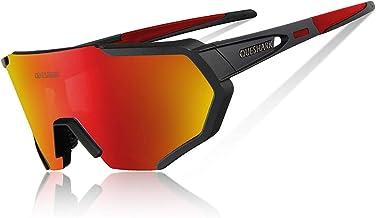 Queshark Gepolariseerde uv-veiligheidsbril met 3 of 5 glazen voor fiets, mountainbike, vervangbaar, voor sport, heren, dam...