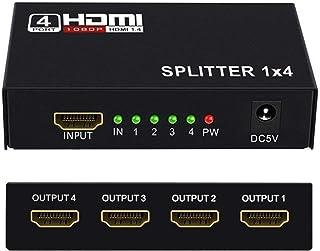 HDMI スプリッター 4出力 分配器 同時出力 4K 1080P 3D 映像対応 TV PC Xbox PS4 任天堂スイッチ Fire TV Stick AppleTV プロジェクター 対応 電源 アダプター付き ブラック