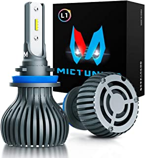 MICTUNING L1 Series H11 LED Headlight Bulbs All-in-One Conversion Kit Plug-N-Play Non-polarity 60W 6500K Xenon White Extremely Bright - DOT Approved
