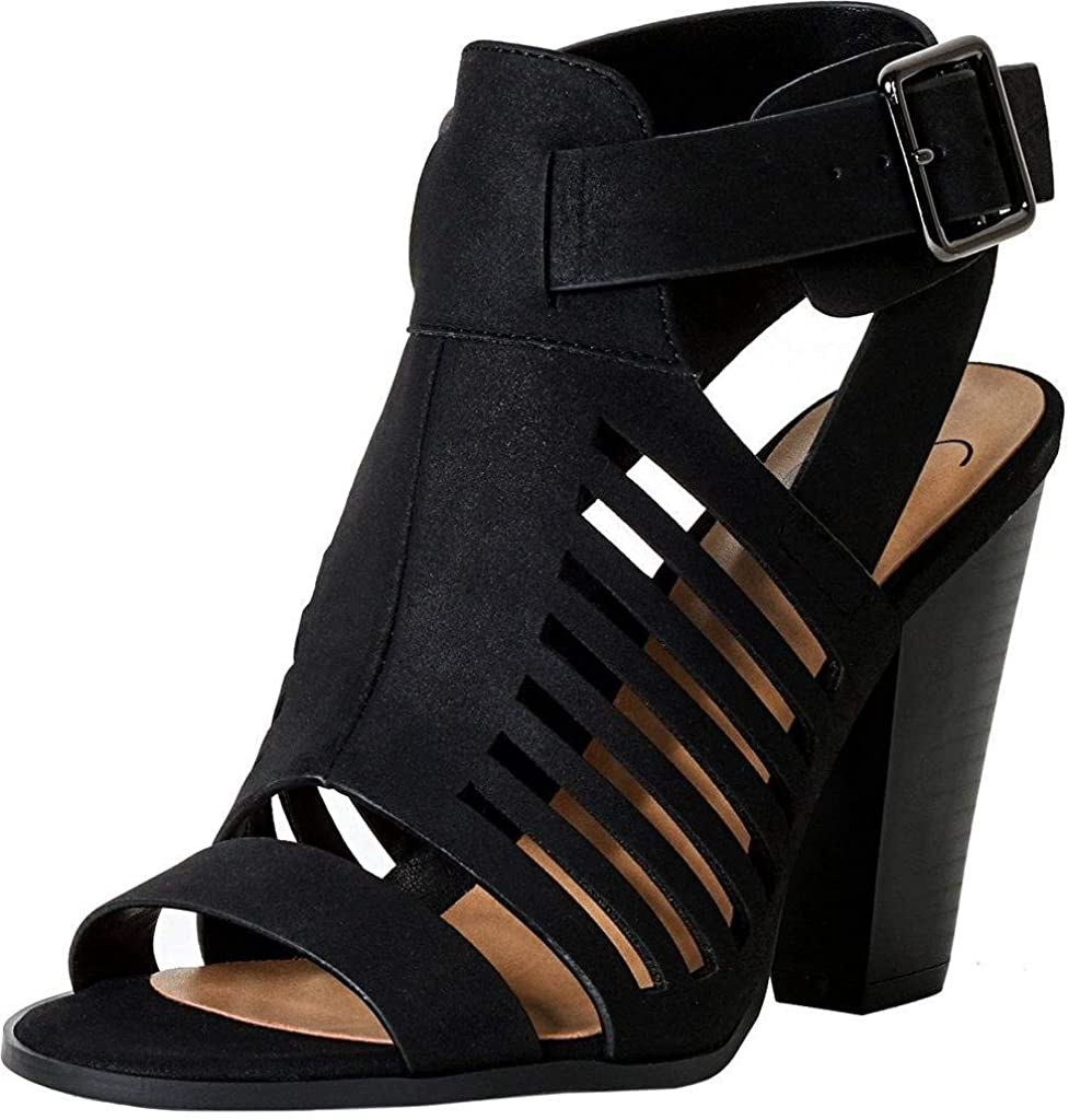 Delicious Yummy Cutout Stacked Heel Sandal Shoes
