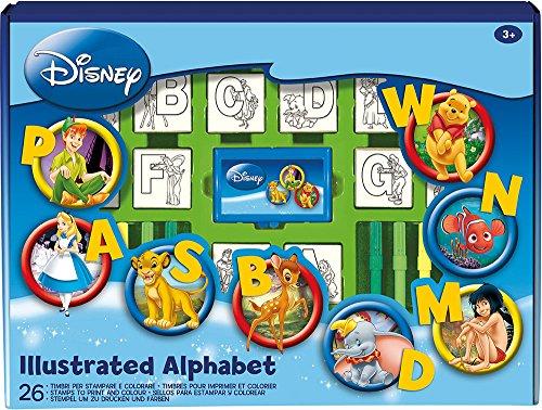 Multiprint Set Educativo Disney Alfabeto, Box da 26 Timbri 100% Made in Italy, Pennarelli Bambini, Set Timbrini Bimbi in Legno e Gomma Naturale, Inchiostro Lavabile Atossico, Idea Regalo, Art. 01936