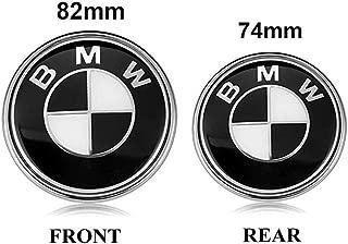 BMW Emblems Hood and Trunk, 82mm + 74mm Black BMW Logo Replacement for ALL Models BMW E46 E30 E36 E34 E38 E39 E60 E65 E90 325i 328i X3 X5 X6 1 3 5 6 7 (82MM+74MM)