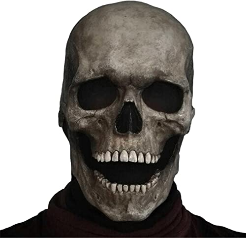 lowest 1Pcs Full Head Skull Mask, wholesale Creepy Skull Helmet, Halloween Decoration, discount Masque Headgear Ghost Masquerade Cosplay Party Props sale