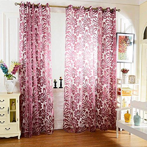 Best of Best Store Rideaux occultants en tulle Motif fleurs Violet 100 x 250 cm