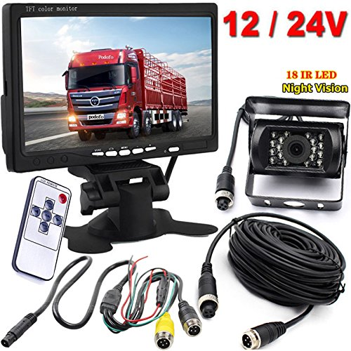 Xinyida Rückfahrkamera, 4-polig, 12 V bis 24 V, 18 LEDs, IR-Nachtsicht, wasserdicht, mit 15 m Kabel + 17,8 cm Farb-TFT-LCD-HD-Automonitor für Wohnmobil, Bus, LKW, Anhänger