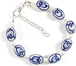 """Blue Delft"", Blue and White Ceramic Bead Bracelet with Tulips, Adjustable"