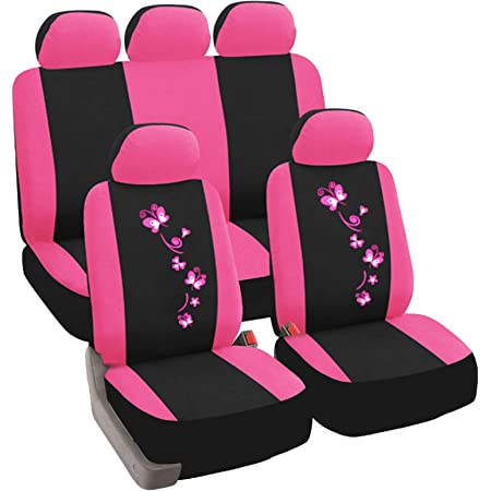 Esituro Scsc0057 Auto Schonbezug 12 Teillige Sitzbezüge Mit Lenkradbezug Und Gurtpolster Für Auto Universal Schwarz Rosa Auto