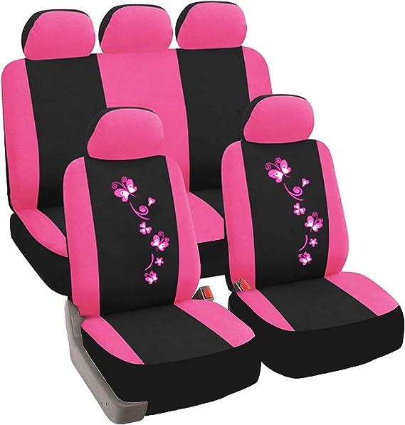 Esituro Auto Schonbezug 11 Teillige Sitzbezüge Für Auto Mit Schmetterling Universal Schwarz Rosa Scsc0062 Auto