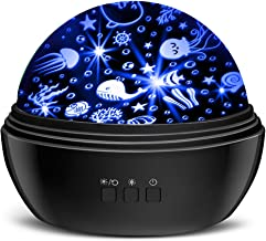 Star Projector Night Lights for Kids, MOKOQI Novelty Moon Star/Sea Animal 2-in-1 Design Night Lighting Lamp, Multi-Color S...